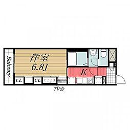 JR成田線 成田駅 徒歩13分の賃貸マンション 2階1Kの間取り