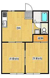 中久保2丁目 2DK アパート[1階]の間取り