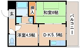JR山陽本線 明石駅 徒歩6分の賃貸アパート 1階2DKの間取り