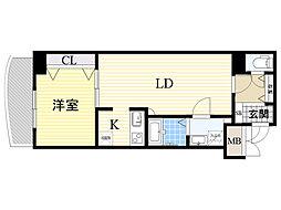 ノルデンタワー新大阪アネックス 3階1LDKの間取り
