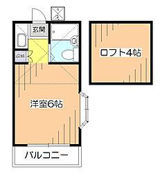 東京都西東京市芝久保町2の賃貸アパートの間取り