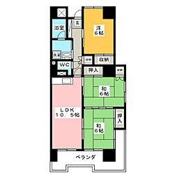 バリーハイツ[4階]の間取り
