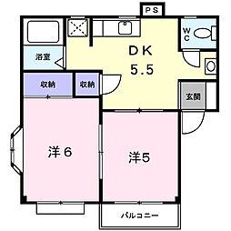 埼玉県春日部市栄町1丁目の賃貸アパートの間取り