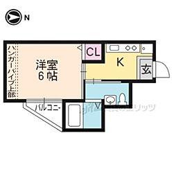 京都市営烏丸線 北大路駅 徒歩6分の賃貸マンション 2階1Kの間取り
