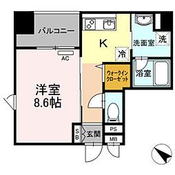 西鉄天神大牟田線 薬院駅 徒歩6分の賃貸マンション 8階1Kの間取り