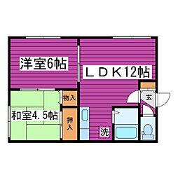 北海道札幌市東区北四十七条東10丁目の賃貸アパートの間取り