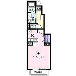 JR宇部線 岩鼻駅 徒歩10分の賃貸アパート 1階1Kの間取り