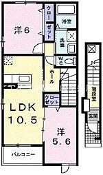 岡山県赤磐市桜が丘西10丁目の賃貸アパートの間取り