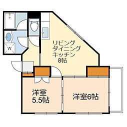 JR南武線 稲城長沼駅 徒歩3分の賃貸マンション 3階2LDKの間取り