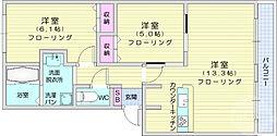 サンライズ東中田 3階2LDKの間取り
