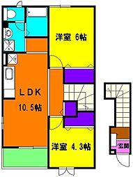 静岡県磐田市小立野の賃貸アパートの間取り