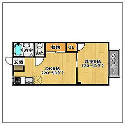 アーバンライフ田隈[105号室]の間取り