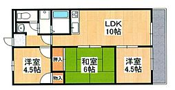 兵庫県姫路市網干区津市場の賃貸マンションの間取り