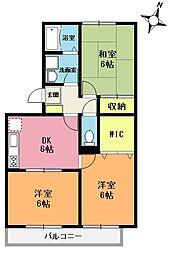 埼玉県上尾市浅間台3の賃貸アパートの間取り