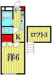 埼玉県越谷市大沢3の賃貸アパートの間取り