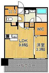 グランフォーレ小倉シティタワー 6階1LDKの間取り