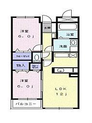 東京都清瀬市上清戸1丁目の賃貸マンションの間取り