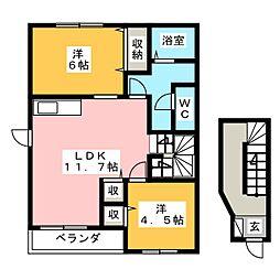 ヴェルハウズン B[2階]の間取り