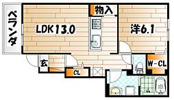 福岡県北九州市小倉南区葛原本町3丁目の賃貸アパートの間取り