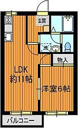ドミール鶴里[2階]の間取り