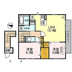 南海高野線 金剛駅 徒歩13分の賃貸アパート 2階2LDKの間取り