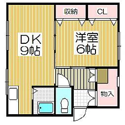 北都アパートB棟[305号室]の間取り