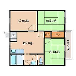 奈良県橿原市地黄町の賃貸アパートの間取り