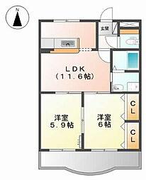 ラポールRYU[1階]の間取り