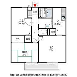大阪府岸和田市土生町の賃貸アパートの間取り