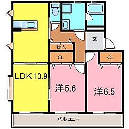プレイン横山B[2階]の間取り