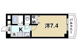 カンパネルラ 4階1Kの間取り