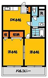 栃木県下都賀郡壬生町幸町1丁目の賃貸アパートの間取り