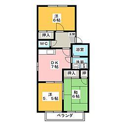 ホワイト・ローヌA[1階]の間取り
