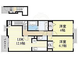 泉北高速鉄道 深井駅 徒歩22分の賃貸アパート 2階2LDKの間取り