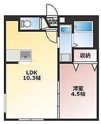 アンシャンテ豊平公園 1階1LDKの間取り