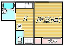 東京都目黒区下目黒3丁目の賃貸アパートの間取り