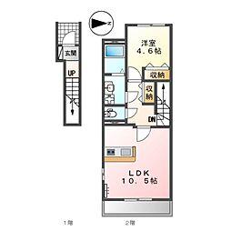 (仮称)前貝塚町新築アパートB棟 2階1LDKの間取り