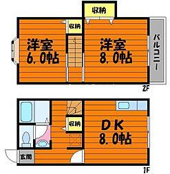 岡山県倉敷市浜町1丁目の賃貸アパートの間取り