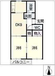 寄京ハイツ[2階]の間取り