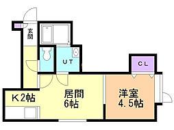 ラパス清田 1階1LDKの間取り