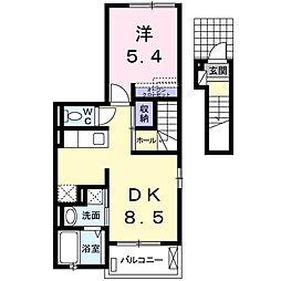 愛知県名古屋市瑞穂区北原町2の賃貸アパートの間取り