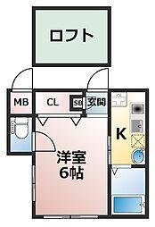 兵庫県神戸市灘区篠原本町5丁目の賃貸アパートの間取り