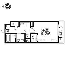 京福電気鉄道嵐山本線 帷子ノ辻駅 徒歩4分の賃貸マンション 2階1Kの間取り