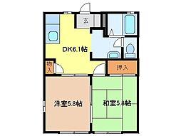静岡県富士市石坂の賃貸アパートの間取り