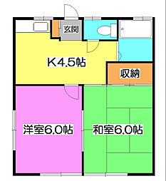 東京都清瀬市下清戸1丁目の賃貸アパートの間取り