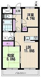 埼玉県さいたま市中央区鈴谷4丁目の賃貸マンションの間取り