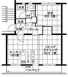 大阪府堺市南区茶山台2丁の賃貸マンションの間取り