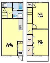 愛知県みよし市西陣取山の賃貸アパートの間取り