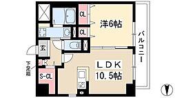 仮)弥富通マンション 5階1LDKの間取り