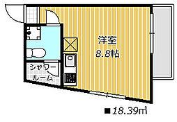 DAYBYDAY FUNABASI 3階ワンルームの間取り